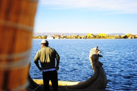 Reed boat in Lake Titikaka, Peru